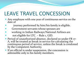 LEAVE TRAVEL CONCESSION