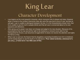King Lear   Character Development