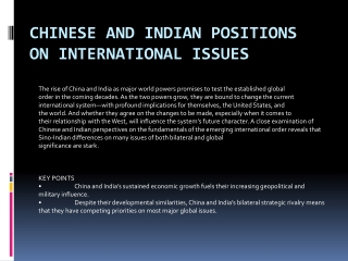 CHINESE AND INDIAN POSITIONS ON INTERNATIONAL ISSUES