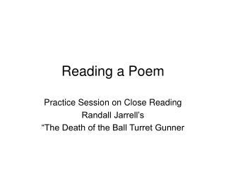 Reading a Poem