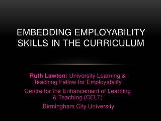 Embedding Employability skills in the curriculum