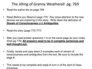 The Jilting of Granny Weatherall  pg. 769