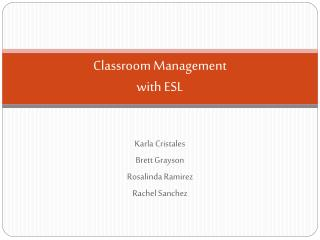 Classroom Management with ESL