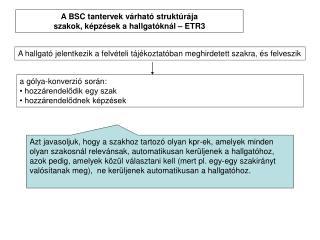 A BSC tantervek v rhat  strukt r ja szakok, k pz sek a hallgat kn l   ETR3