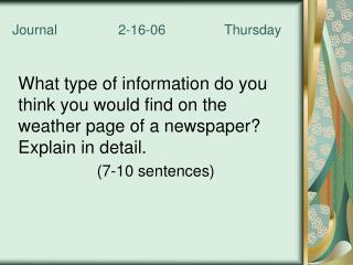 Journal   2-16-06   Thursday