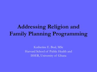 Addressing Religion and Family Planning Programming