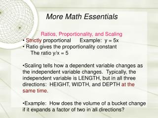 More Math Essentials