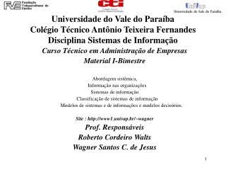 Universidade do Vale do Para ba Col gio T cnico Ant nio Teixeira Fernandes Disciplina Sistemas de Informa  o