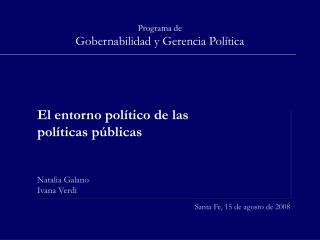 Programa de Gobernabilidad y Gerencia Pol tica
