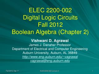 ELEC 2200-002 Digital Logic Circuits Fall 2012 Boolean Algebra Chapter 2