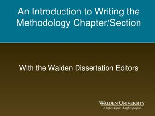 An Introduction to Writing the Methodology Chapter