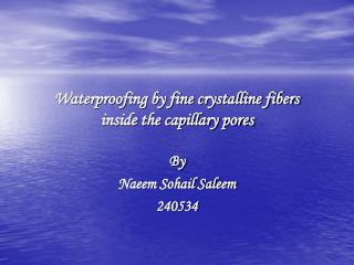Waterproofing by fine crystalline fibers inside the capillary pores