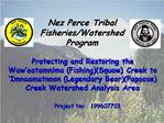 Protecting and Restoring the Waw aatamnima FishingSquaw Creek to  Imnaamatnoon Legendary BearPapoose Creek Watershed Ana