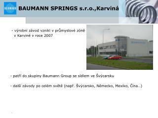 BAUMANN SPRINGS s.r.o.,Karvin