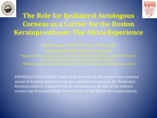 The Role for Ipsilateral Autologous Corneas as a Carrier for the Boston Keratoprosthesis: The Africa Experience