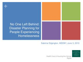 No One Left Behind: Disaster Planning for People Experiencing Homelessness