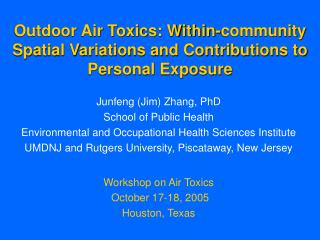 Outdoor Air Toxics: Within-community Spatial Variations and Contributions to Personal Exposure