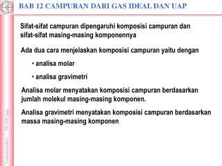 BAB 12 CAMPURAN DARI GAS IDEAL DAN UAP