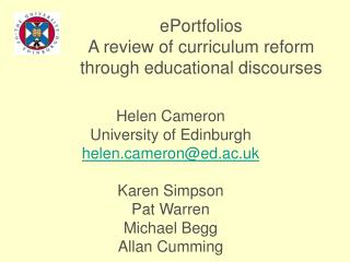 EPortfolios A review of curriculum reform through educational discourses