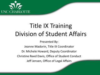 Title IX Training Division of Student Affairs