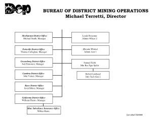 BUREAU OF DISTRICT MINING OPERATIONS Michael Terretti, Director