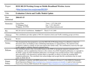 802.20 Evaluation Criteria and  Traffic Models Update