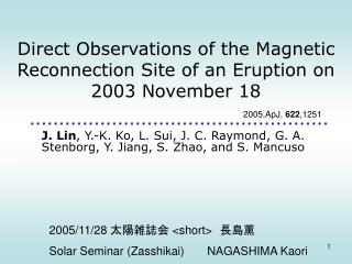 Direct Observations of the Magnetic Reconnection Site of an Eruption on 2003 November 18