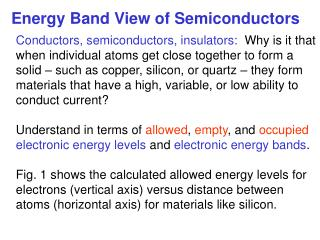 Energy Band View of Semiconductors