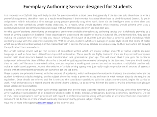 Exemplary Authoring Service designed for Students
