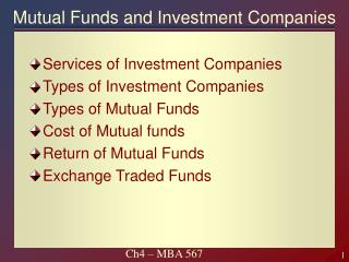 Mutual Funds and Investment Companies