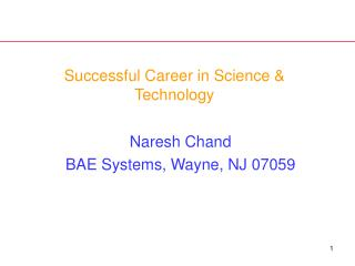 Successful Career in Science  Technology