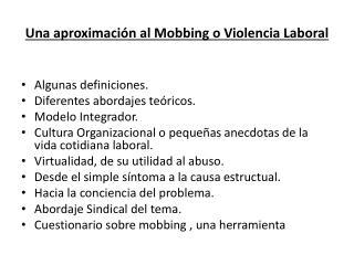 Una aproximaci n al Mobbing o Violencia Laboral