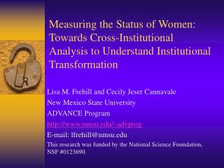 Measuring the Status of Women: Towards Cross-Institutional Analysis to Understand Institutional Transformation