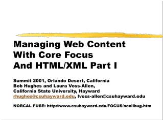 Managing Web Content  With Core Focus And HTML