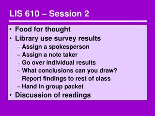 LIS 610   Session 2