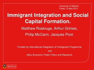 Immigrant Integration and Social Capital Formation.