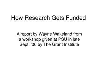 How Research Gets Funded