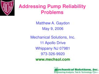 Addressing Pump Reliability Problems