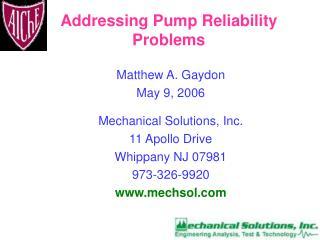 Addressing Pump Reliability Problems
