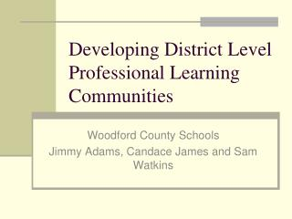 Developing District Level Professional Learning Communities