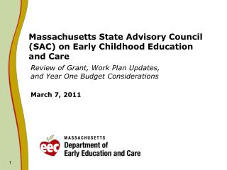 Massachusetts State Advisory Council SAC on Early Childhood Education and Care