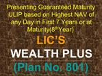 Presenting Guaranteed Maturity ULIP based on Highest NAV of any Day in First 7 Years or at Maturity8th Year LIC S  WEALT