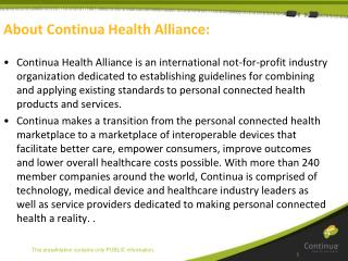 About Continua Health Alliance: