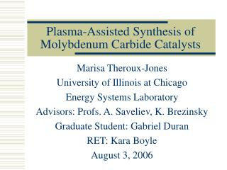 Plasma-Assisted Synthesis of Molybdenum Carbide Catalysts