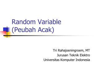 Random Variable Peubah Acak