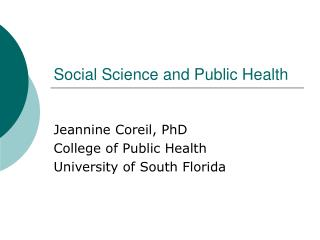 Social Science and Public Health