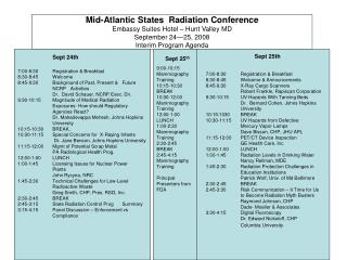 Mid-Atlantic States  Radiation Conference Embassy Suites Hotel   Hunt Valley MD September 24 25, 2008 Interim Program Ag
