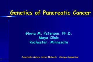Genetics of Pancreatic Cancer