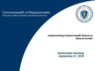 Stakeholder Meeting September 21, 2010