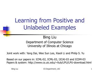 Learning from Positive and Unlabeled Examples